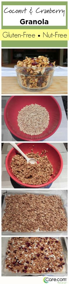 Nut-free granola makes a great breakfast or snack for kids and parents! Everyone will love this healthy homemade recipe Vegan Snacks, Healthy Snacks, Healthy Recipes, Healthy Lunches For Kids, Kids Meals, School Lunches, School Days, Yummy Yummy, Yummy Food