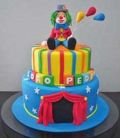 first birthday onesie 3rd Birthday Cakes, Circus Birthday, Carnival Cupcakes, Clown Cake, Circus Cookies, Cartoon Cakes, Colorful Cakes, Specialty Cakes, Cakes For Boys