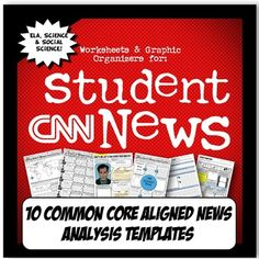My students are hooked on CNN Student News! It is a great, free online resource that is perfect to get students thinking about current events with a Common Core lens. This activity set has TEN templates to choose from and is aligned with Common Core Literacy and Writing standards for ELA, history and science (NGSS).There are varying templates for teachers to implement depending on style and class ability level.