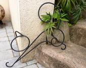 Chat en fer forgé noir mat pour décoration