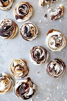 chocolate and salted swirled meringues