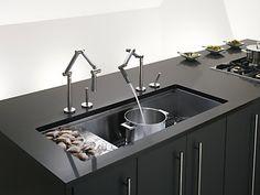 "KOHLER | K-3761-NA | Stages™ 45"" x 18-1/2"" x 9-13/16"" under-mount single-bowl with wet surface area kitchen sink"