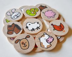 Memory Game Farm Animals Waldorf toy Game by 2HeartsDesire on Etsy, $17.00 Handmade In The U.S.A.