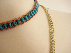 clear instructions on how to weave ribbon through jump rings to form a necklace