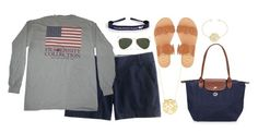 """""""Untitled #490"""" by preppy80 ❤ liked on Polyvore featuring J.Crew, Fraternity, Longchamp, Jack Rogers, Ray-Ban and BaubleBar"""