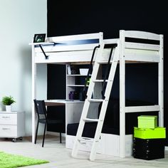 Thuka Trendy 28 High Sleeper White Natural Insters Black Fabric