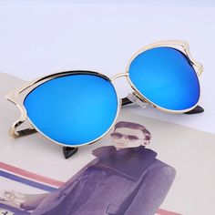 Sexy Cateye Sunglasses Mirror Blue Super trendy, a headturner. Brand new. High Quality. Accessories Sunglasses