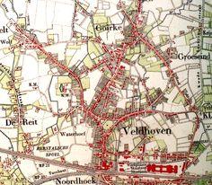 De kaart van 1890. De fabrieken van de spoorwegen liggen dan al zo'n twintig jaar achter het station.