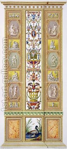Panel from the Raphael Loggia at the Vatican, from Delle Loggie di Rafaele nel Vaticano, engraved by Giovanni Volpato 1735-1803, 1775, published c.1775-77 by (after) Taurinensis, Ludovicus Tesio - Reproduction Oil Painting 18 x 40