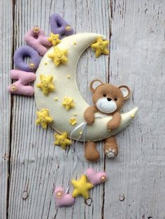 Baby room decor Personalized felt moon Teddy bear Handmade felt hanging Door decoration Nursery wall hanging Bear on the moon Felt Baby Room Decor, Nursery Decor, Baby Door Wreaths, Baby Shower Gifts, Baby Gifts, Felt Name Banner, Bear Felt, Safari Nursery, Felt Decorations