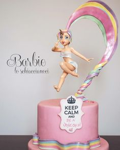 "509 Likes, 22 Comments - Barbara Regini.Cake & SugarArt (@barbie.loschiaccianoci) on Instagram: ""Keep Calm and be a  #Unicorn #rainbow #cake #lady #sugar #sugarpaste #pink #love…"""