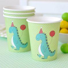 Vasos de Papel Verde con Dinosaurio - CARULA DECORA TU FIESTA