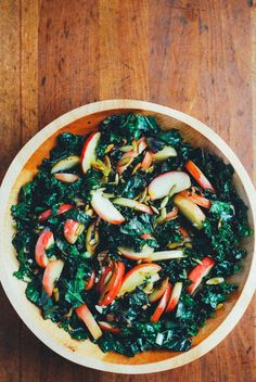 kale salad with sautéed apples // brooklyn supper
