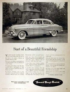 1952 Buick Sedan vintage ad. Start of a beautiful friendship. Available in Custom, Super, and Roadmaster trim level.
