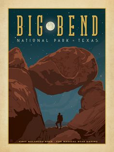 Big Bend National Park - Anderson Design Group has created an award-winning series of classic travel posters that celebrates the history and charm of America's greatest cities and national parks. Founder Joel Anderson directs a team of talented Nashville-based artists to keep the collection growing. This print celebrates the nighttime splendor of Big Bend National Park.