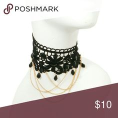 Choker Black lace choker necklace with layered chain down and beads. Lobster clasp closure noriescloset Jewelry Necklaces
