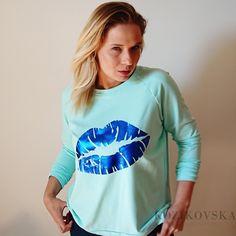 Blue Lips, Metallic Blue, T Shirt, Tops, Women, Fashion, Tee, Moda, Women's