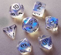 Chessex Borealis Aquerple with Black Polyhedral 7 Dice Set   eBay