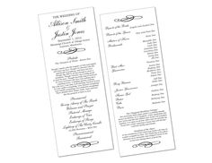 Custom designed wedding program ·