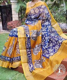 Beautiful Kota Silk Saree with Kalamkari block print