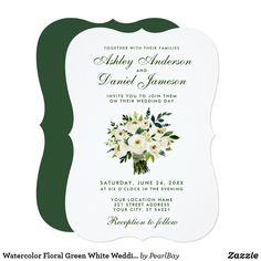 Watercolor Floral Green White Wedding Bouquet B Card - summer wedding diy marriage customize personalize couple idea individuel Calla Lily Wedding, White Wedding Bouquets, Watercolor Invitations, Custom Invitations, Gifts For Wedding Party, Summer Wedding, Winter Wedding Invitations, Floral Watercolor, Green