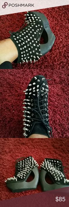 Unique Spike Heel Jeffrey Campbell Shoes Black bootie shoe with unique heel. Spikes on toe and sides detail. In excellent condition. Comes with matching spike hat! Jeffrey Campbell Shoes Platforms