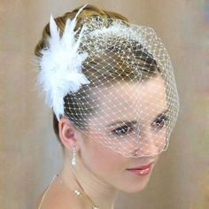 Feather Bridal Hair Clip with Bird Cage Veil