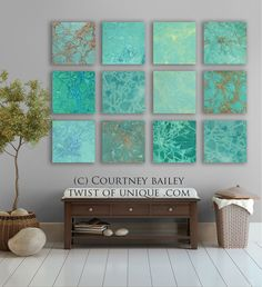 Turquoise abstract Painting 12 square CUSTOM by TwistOfUnique,