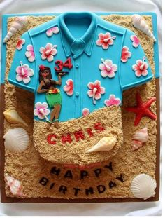 Loving this Hawaiian shirt cake Hawaii Birthday Cake, Hawaiian Party Cake, Hawaii Cake, Hawaiian Bbq, Hawaiian Birthday, 40th Birthday Cakes, Luau Birthday, Male Birthday, Hawaiian Theme