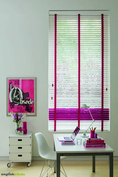 Luxurious gloss white and purple wooden blinds.