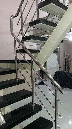 Steel Stair Railing, Steel Railing Design, Modern Stair Railing, Steel Stairs, Modern Stairs, Table Bases, Dining Table, Balustrade Inox, Grill Door Design