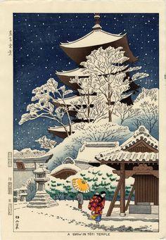 Japanese Woodblock Print Vintage Asian Art Colorful woodblock prints Shrine At Night Snow White Art Print by Tokugawa - X-Small Japan Painting, Painting Prints, Art Prints, Paintings, Block Prints, Japan Illustration, Illustration Pictures, Japanese Artwork, Japanese Prints