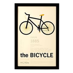 Framed - The Bicycle Encyclopedic Print Diy Birthday Gifts For Him, Diy Gifts For Him, Christmas Gifts For Him, Diy Gifts For Boyfriend, Christmas Decor, Bicycle Print, Bike Art, Unusual Gifts, Best Gifts