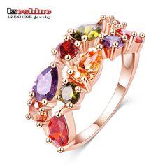 Bandas de anillo de bodas lzeshine bijouterie anillo de dedo de oro rosa plateado con colorido de austria zirconia 2016 anillos cri0242-a