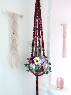 "Large macrame plant hanger, PLUM, hanging planter, pot holder, plant holder, hanging basket, modern, hippie, beads, 55"", hangers, maroon"