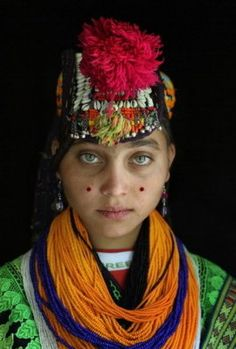 Kalash young lady. Kalash people from northern Pakistan and Afghanistan with such striking features