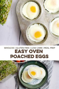 Poached eggs in the oven are an easy breakfast or brunch recipe! Learn how to make poached eggs in the oven in under 15 minutes! Whole30, low carb, keto, paleo and vegetarian!