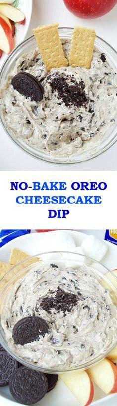 No-Bake Oreo Cheesecake Dip- A super creamy and rich no-bake oreo cheesecake dessert dip that takes 5 minutes to make and tastes just like the real thing!