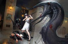 Eldritch horror, flapper, shotgun... this looks like a game of Arkham Horror! Fantasy Art & Illustration by Cynthia Sheppard