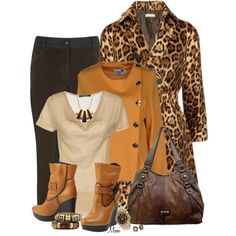 Fall Fashion ~  Leopard Coat     DOLORES PROMESAS HELL Cardigan,  SCOOTER PLUS Sweater –   Brunello Cucinelli Corduroy Tapered Trousers –  FABI Ankle Boots –   Plum Women's Handbag Cortland Tote Bag –