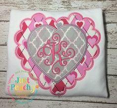 Scallop Heart Frame Applique Embroidery Design