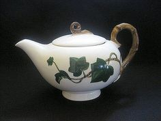 Vintage Country Cottage Teapot Green Leves and Vine by BBBDesigns, $19.00