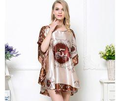 Dmart7dealWomen Silk Nightgown Vintage Pattern Print Pijamas MujerSummer Brand New Robes Femme Big Plus Size Suit:L~3XXXL,4XL,5XL