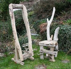 Large driftwood Mirror & chair.