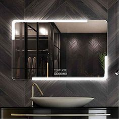 QZ Six-Touch Switch Bathroom Mirror, Stylish and Multifunctional - Date Calendar/Dual-Color Dimming/Fast Defogging/Time Temperature/Bluetooth Music/Wireless Call (Size : Mirrors For Makeup, Makeup Mirror With Lights, Led Mirror, Indoor Door Mats, Indoor Doors, Living Room Crafts, Rugs In Living Room, Can Makeup, Home Porch