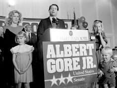 -elect Al Gore, with wife Tipper and their children, stand on the rostrum at Vanderbilt Plaza Hotel as Gore makes a brief victory speech after winning the Tennessee Senate seat in a landslide over GOP candidate Victor Ashe Nov. Al Gore, Nov 6, Plaza Hotel, Nashville, Victorious, Tennessee, Cinema, The Unit, Children