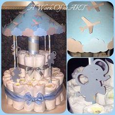✨2 Tier Carousel Diaper Cake✨ #rustic #carnival #handmade #custom #pregnant #cake #nursery #decor... - _a_work_of_heart_ via Instagram on Apr 30, 2015