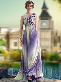 Chiffon Sheath / Column Floor-length One Shoulder Zip-up Ruffles Prom Dresses