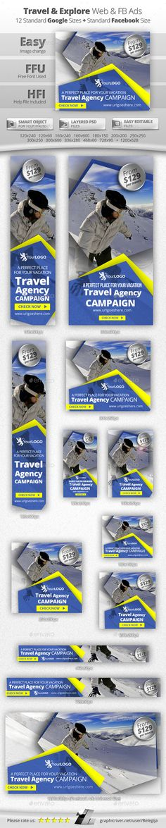 Travel & Explore Web & Facebook Banners — Photoshop PSD #summer #travel • Available here → https://graphicriver.net/item/travel-explore-web-facebook-banners/13306245?ref=pxcr