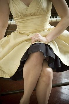 yellow dress with black petticoat